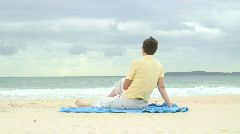 HD: Woman on the beach - stock footage