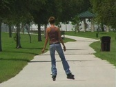 Stock Video Footage of Lovely Young Brunette Rollerblading-6