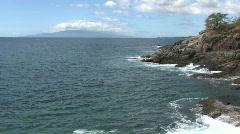 Snorkle swim Maui rocky shore HD Stock Footage