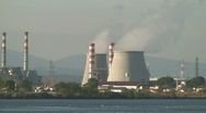 Chimneys of nuclear power plant Stock Footage