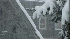 Snowfall in the alpin village Stock Footage