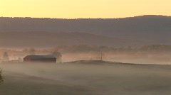 Farm Mountain Sunrise - Time Lapsed Fog Stock Footage