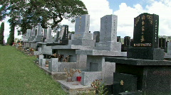 Japanese cemetery headstones Hawaii pan HD Stock Footage