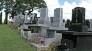Stock Video Footage of Japanese cemetery headstones Hawaii pan HD