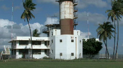 Ford Island WWII control tower pan up HD Stock Footage