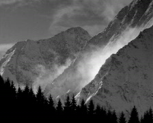 Mystic clouds in the mountains b/w Stock Footage