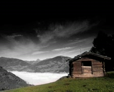 Lonesome old cottage in the mountains - stock footage