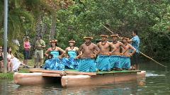 Hawaiian dancers on canoe Polynesian Cultural Center HD Stock Footage