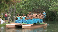 Stock Video Footage of Hawaiian dancers on canoe Polynesian Cultural Center HD