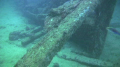 Artificial reef a wooden wreck in the Philippines Stock Footage