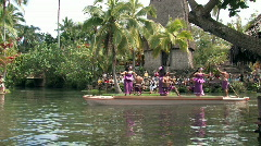 Hawaii Samoa dancers on canoe HD Stock Footage
