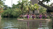 Stock Video Footage of Hawaii Samoa dancers on canoe HD