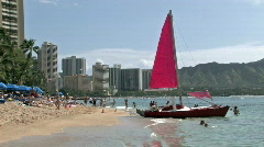 Waikiki Beach catamaran hotels Hawaii vacation recreation HD - stock footage