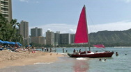 Stock Video Footage of Waikiki Beach catamaran hotels Hawaii vacation recreation HD