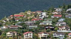 Houses on a hill pan Honolulu Hawaii HD Stock Footage