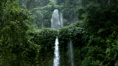 two rain forrest waterfall - stock footage