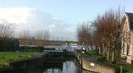 Idyllic water lock in the polder Stock Footage