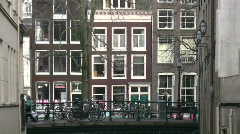 Zoom of Narrow Amsterdam Canal - stock footage