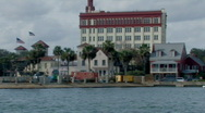 Stock Video Footage of Historic St. Augustine seen from ship in ocean