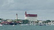 Stock Video Footage of Historic St. Augustine seen from ocean