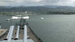 Battleship Missouri guns Arizona Memorial Honolulu Hawaii HD Stock Footage