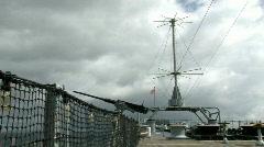 USS Missouri Battleship frnt deck gun HD Stock Footage