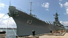 USS Missouri Battleship frnt Pearl Harbor HD Stock Footage