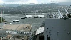 USS Missouri deck entrance Pearl Harbor Hawaii HD Stock Footage