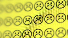 Frowns Turn to Smiling Happy Faces on Computer Screen, close up - stock footage