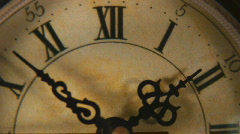 Close up of vintage clock face ticking off seconds Stock Footage