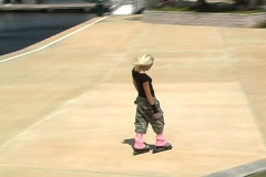 Beautiful Blonde Rollerblading Outdoors - stock footage