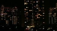 Stock Video Footage of Honolulu night closer pan rt HD