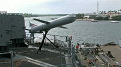 USS Missouri cruise missile demonstration HD Stock Footage