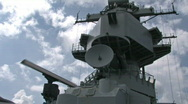 Battleship Missouri superstructure radar HD Stock Footage