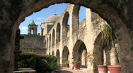 Stock Video Footage of Mission San Jose courtyard HD
