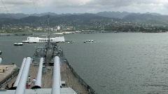 Arizona Memorial from deck USS Missouri Pearl Harbor Hawaii HD Stock Footage