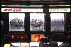 Vegas Slot Machine hits triple diamond jackpot Stock Footage