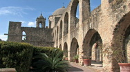 Mission San Jose courtyard arches HD Stock Footage