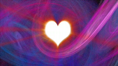 Fractal heart with light beams Stock Footage