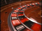 Rotating roulette wheel low angle Stock Footage