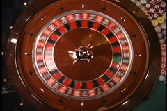 Overhead roulette wheel ball thrown in Stock Footage