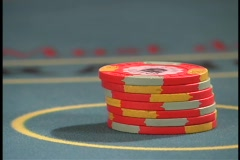 Blackjack bet is placed - stock footage