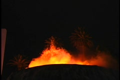 Erupting Volcano lava fountain wide shot - stock footage