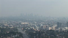 Smoggy Downtown LA WS Stock Footage