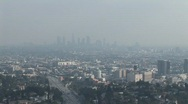 Stock Video Footage of Smoggy Downtown LA WS