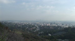 Smoggy Downtown LA Zoom In Stock Footage