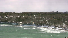 Hurricane Per hitting visby harbor with big waves on the island Gotland Stock Footage