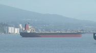 Ocean freighter in bay. Stock Footage