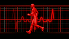 Man running left with EKG in Background loopable. HD Stock Footage