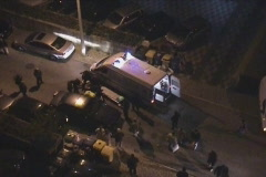 Accident scene in city Stock Footage